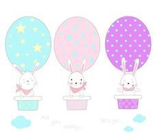 lindos conejitos con globo aerostático en forma de huevo
