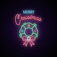 Christmas Wreath Neon Sign. vector