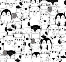 dibujado a mano lindos animales bebé en blanco y negro vector