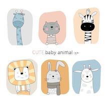 dibujados a mano lindos animales bebé con fondos de marco de color