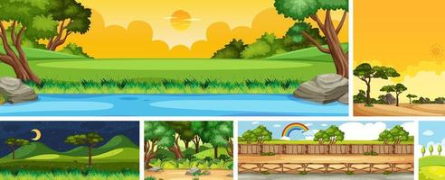 Set of different nature place scene in vertical and horizon scenes at daytime and night vector