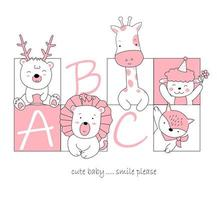 Hand drawn cute baby animals in square frames