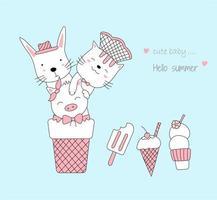 dibujados a mano lindos animales bebé con helado