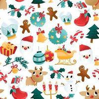 Fun Cartoon Christmas Holiday Decorations Seamless Pattern vector