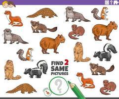 encontrar dos mismos personajes animales tarea para niños vector