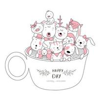 Cute baby animals in cup