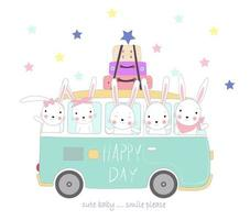 Cute rabbits travel on holiday