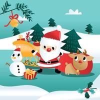 Fun Cartoon Christmas Holiday Winter Scene vector