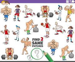 encontrar dos mismos personajes de atleta tarea vector