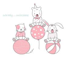 Hand drawn cute animals with yawn, balloon and ball