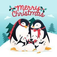 dibujos animados super lindo vacaciones pingüino familia escena de invierno vector