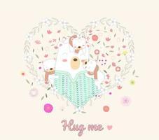 osos lindos abrazándose en marco de corazón floral