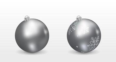 3D Silver Christmas Balls vector
