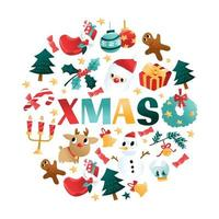 Fun Cartoon Christmas Holiday Round Decorations vector