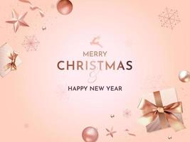 saludo de navidad y año nuevo con decoraciones navideñas realistas