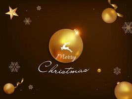 Merry Christmas Greeting Card with Realistic Christmas Decorations