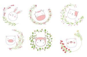 Cartoon sketch baby animal faces in floral frames vector