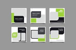 Green Social Media Post Te,plate vector