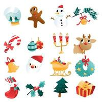 Fun Cartoon Christmas Holiday Decorations Set vector