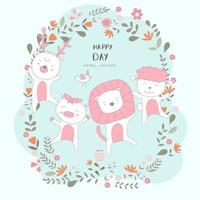 Hand drawn cute baby animals in floral frame