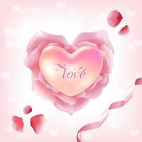 Pink Rose Petals in Heart Shape