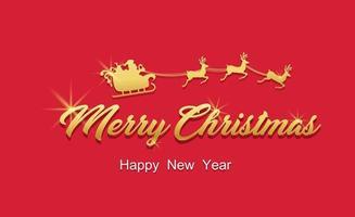 feliz navidad texto dorado y santa en trineo vector