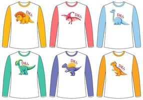 Set of different colour dinosaur screen on long sleeve t-shirt vector