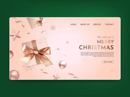 Realistic Christmas Landing Page vector