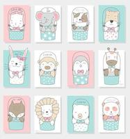 Hand drawn cute baby animals in buckets cards vector