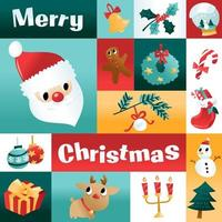 Fun Cartoon Christmas Holiday Mosaic Decoration vector