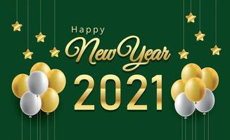 Happy new year balloons and golden metal numbers vector
