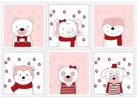 día de san valentín dibujados a mano lindos animales en marcos