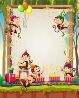 Plantilla de marco de madera de lienzo con monos en tema de fiesta sobre fondo de bosque