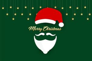 Santa hat and beard silhouette and Merry Christmas text vector