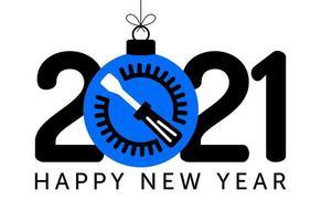 Saludo de año nuevo 2021 con adorno de destornillador vector