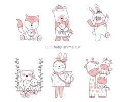 Hand drawn cute baby animals vector