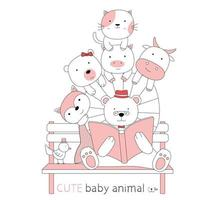 Cute baby animals read a book on bench vector