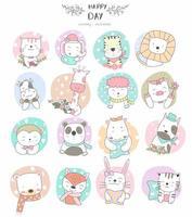 dibujados a mano lindos animales bebé en marcos circulares estampados