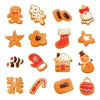 Super Cute Gingerbread Christmas Cookies Set vector