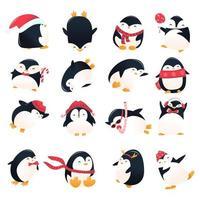 Super Cute Cartoon Holiday Penguins Set vector