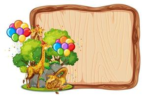 Blank wooden board template with giraffes in party theme isolated vector