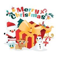 Fun Merry Christmas Giant Gift Santa Cartoon vector