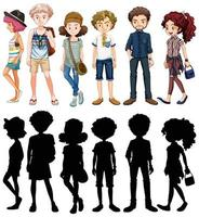conjunto de personaje de dibujos animados vector