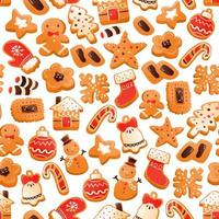 Super Cute Gingerbread Christmas Cookies Seamless Pattern