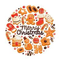 Super Cute Gingerbread Christmas Cookies Round Decoration