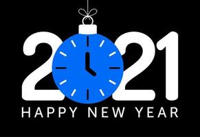 2021 new year greeting with blue clock ornament