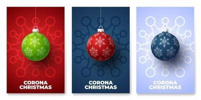 conjunto de carteles de peligro de coronavirus de bola de navidad