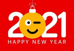 2021 new year greeting with winking emoji face ornament