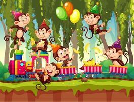 Muchos monos en el tema de la fiesta en el fondo del bosque de la naturaleza vector