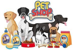 Grupo de perros con producto de elementos de perro sobre fondo blanco. vector